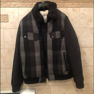 Boys American Rag Black and Grey Plaid Warm Coat